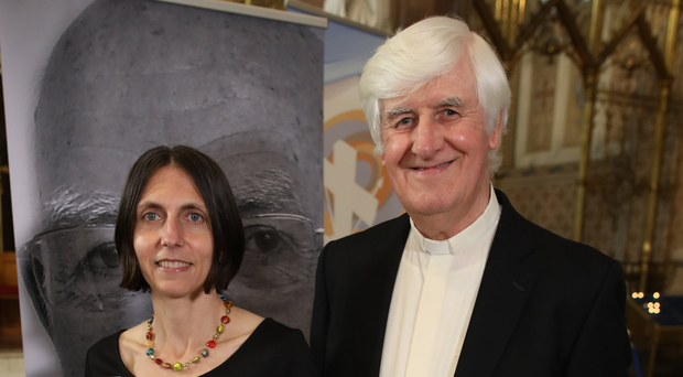 Author Gladys Ganiel is joined by the Rev Dr Ken Newell at the launch of her book in Clonard Monastery