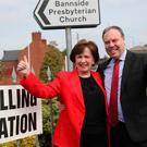 Sitting MEP Diane Dodds, with husband Nigel Dodds, arrives at Bannside Presbyterian Church in Banbridge to cast her vote for the European Parliament election. PRESS ASSOCIATION Photo. Picture date: Thursday May 23, 2019. See PA story POLITICS Election. Photo credit should read: Brian Lawless/PA Wire