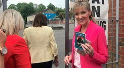 Sinn Fein MEP candidate Martina Anderson arrives at the Model Primary School in Londonderry to cast cast her vote for the European Parliament election. Credit: PA Wire