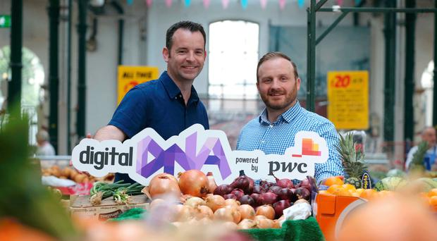 Simon Bailie, chief executive of Digital DNA, with Seamus Cushley, director of ventures and blockchain at PwC