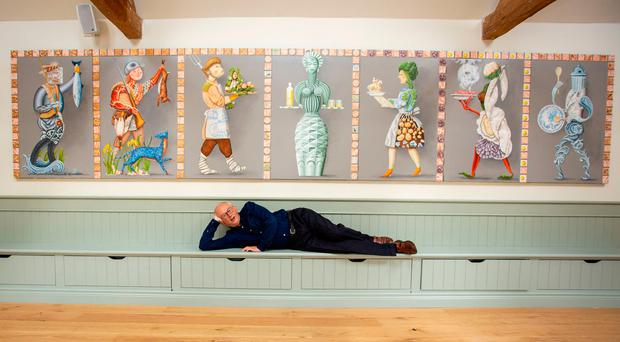 Artist John Kindness at a private viewing of an exhibition of his work in the Clore Learning Centre