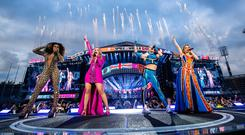 Melanie Brown, Emma Bunton, Melanie Chisholm and Geri Horner of the Spice Girls in concert at Croke Park in Dublin. Pic: Andrew Timms/PA Wire.