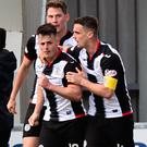 Danny Mullen of St Mirren celebrates scoring in the first half with his team mates during the Ladbrokes Scottish Premiership Play-off Final second leg match between St Mirren and Dundee United at St Mirren Park on May 26, 2019 in Paisley, Scotland. (Photo by Mark Runnacles/Getty Images)