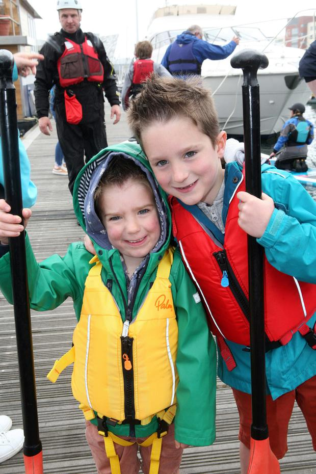 Jaxon (4) and Riley (6) Tate from Kinallen at the Maritime Festival. Pic Freddie Parkinson