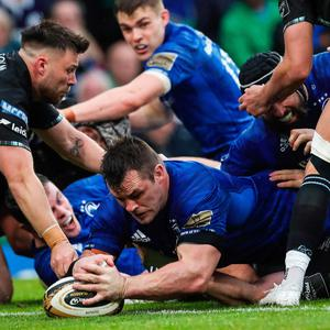 Final push: Cian Healy touches down for a try
