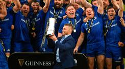 Suited winner: Sean O'Brien lifts the Pro14 trophy