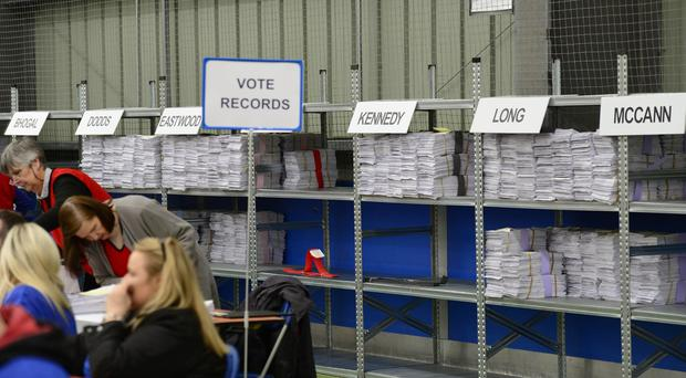 Counting of votes has started for the European election in Northern Ireland. Picture By: Arthur Allison/Pacemaker Press