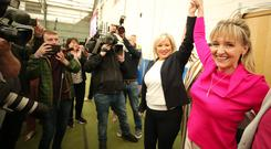 Sinn Fein's MEP candidate Martina Anderson(right) arrives at the count. Picture by Jonathan Porter/PressEye