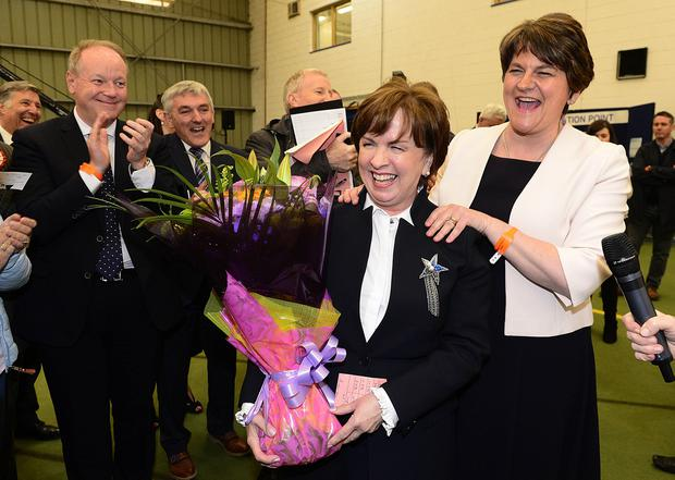 Democratic Unionist Party Diane Dodds pictured with party leader Arlene Foster at the count centre in Magherafelt. Picture By: Arthur Allison/Pacemaker Press