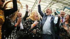 Alliance Party's Naomi Long celebrates after being elected. Picture by Jonathan Porter/PressEye
