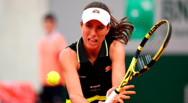 Striding on: Johanna Konta during her first ever win at the French Open