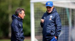 Unclear future: Maurizio Sarri with assistant Gianfranco Zola
