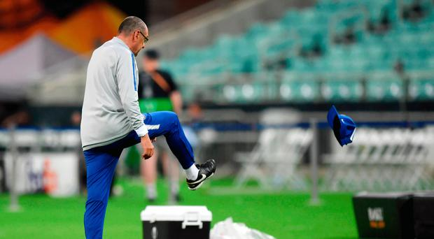 Big hitters: Maurizio Sarri storms off after a training bust-up