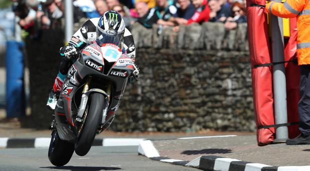 Michael Dunlop in action during practice for the Isle of Man TT.