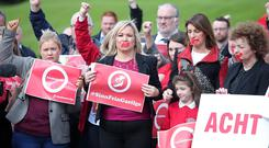 Sinn Fein's Michelle O'Neill during an Irish Language Act protest held at Stormont