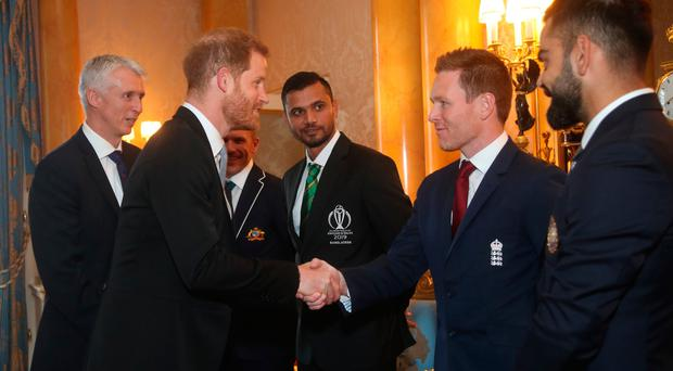 Meet and greet: The Duke of Sussex meets England cricket captain Eoin Morgan during a Royal Garden Party at Buckingham Palace in London yesterday