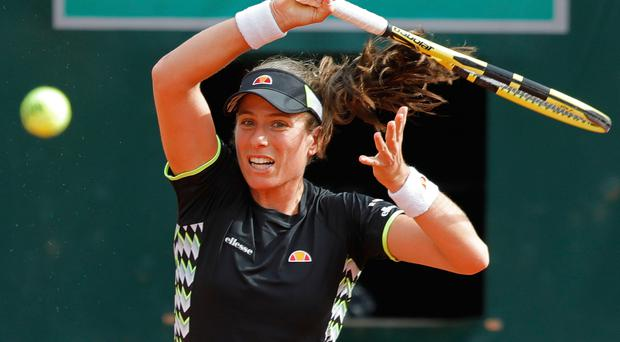 Rude health: Johanna Konta got the better of Lauren Davis at Roland Garros