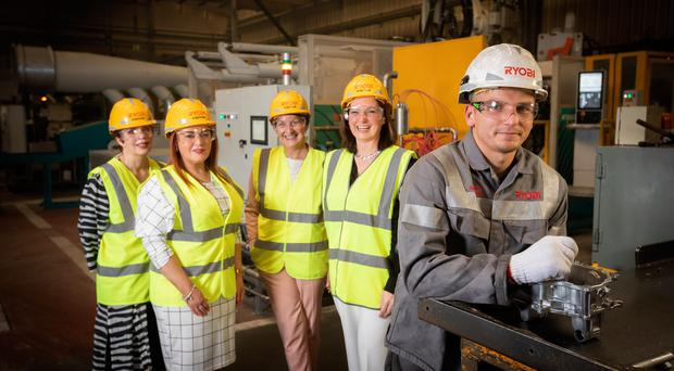 From left, Susan Cleland, of the Centre for Competitiveness, launches the Manufacturing Talent Rules Summit with Platinum Partners' Anne Donaghy, Ann McSorley and Claire McAlinden and Kacper Szapanski, a die cast operator at Ryobi, Carrickfergus