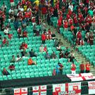 No show: Baku's Olympic Stadium was littered with empty seats for last night's contest