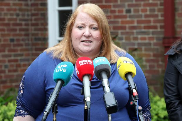 Naomi Long, Alliance Leader, speaking outside Stormont House. Photograph by Declan Roughan