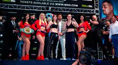 Ready to rumble: Katie Taylor, promoter Eddie Hearn and opponent Delfine Persoon pre-fight in New York