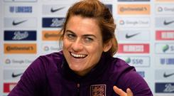 Cannot wait: Karen Carney addresses the media in Brighton yesterday ahead of England's final warm-up match ahead of the Women's World Cup in France