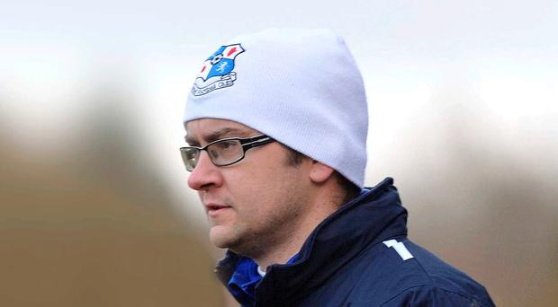 Football man: Gerard McMahon as Loughgall assistant manager in 2012
