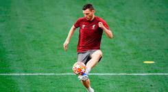 Under control: Andy Robertson gears up for the Champions League final