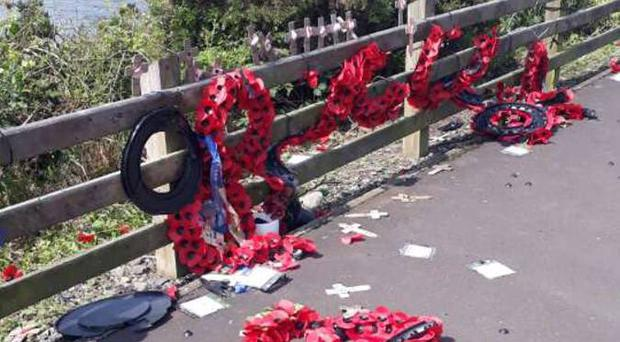 Poppy wreaths and crosses place at the Narrow Water memorial have been desecrated once again.