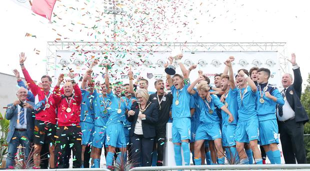 B Italia celebrate winning the Premier section at last year's SuperCupNI (Jonathan Porter/PressEye)
