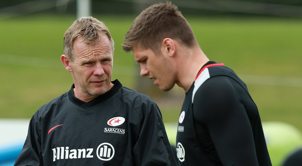 Successful coach: Bangor's Mark McCall (left, with Owen Farrell) won his seventh major honour at Saracens at the weekend