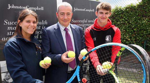 Local aces: Aidan Place (middle) of sponsors Johnston Campbell with Caitlin McCullough (left) of Windsor Tennis Club and Jordan McKeown at the launch of the North of Ireland Open