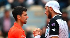 Too strong: Novak Djokovic defeated Jan-Lennard Struff in straight sets to reach the last-eight at the French Open