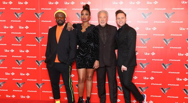 The Voice UK judges Will.i.am, Jennifer Hudson, Sir Tom Jones and Olly Murs (Photo by Tim P. Whitby/Tim P. Whitby/Getty Images)