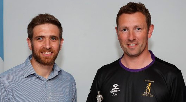 Quick on draw: Waringstown's Gary Kidd (left) and Andrew White of Instonians at last night's Challenge Cup draw
