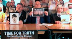 Ciaran McAirt (centre) from the Time for Truth campaign, making the announcement that a second march would be held in Belfast to demand funding to deal with the past