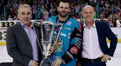 Prize guys: Belfast Giants director of hockey operations Steve Thornton (right), wit Robert Fitzpatrick, CEO of the Odyssey Trust (left) and captain Blair Riley after winning the 2018/19 Elite League title