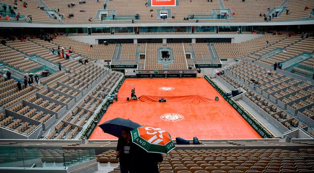 Weather woes: Rain delays proceedings at the French Open