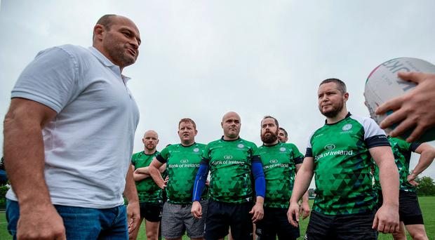 Words of wisdom: Ireland captain Rory Best takes the Emerald Warriors through their final training session ahead of the Union Cup, Europe's biggest LGBT+ inclusive rugby tournament which takes place in Dublin this weekend