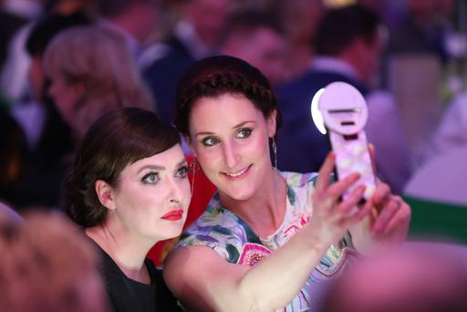 Bronagh Waugh and Kathy Kiera Clarke at the Sunday Life Spirit of Northern Ireland Awards 2019 at Titanic Belfast. Pic Colm O'Reilly 06-06-2019