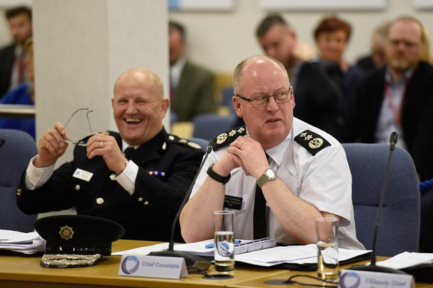 Durham Constabulary's chief constable Mike Barton (left) and Police Service of Northern Ireland chief constable George Hamilton speaking at a public meeting of the Policing Board in Belfast about the controversial arrest of investigative journalists Barry McCaffrey and Trevor Birney. PRESS ASSOCIATION Photo. Picture date: Thursday June 6, 2019. See PA story ULSTER Loughinisland. Photo credit should read: Michael Cooper/PA Wire
