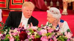 The Queen and President Trump at the State Banquet in Buckingham Palace