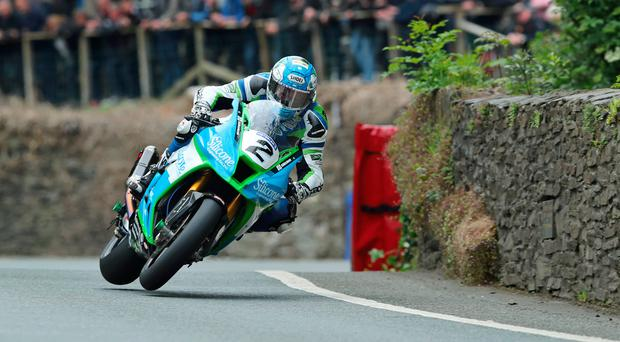 Speed king: Dean Harrison on his way to Senior TT victory