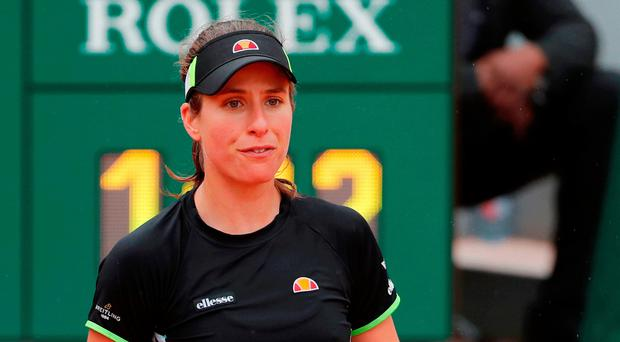 Heading home: Johanna Konta during her defeat in the semi-finals of the French Open