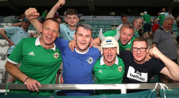 Press Eye - Belfast - Northern Ireland - 08th June 2019 - Photo by William Cherry/Presseye Northern Ireland fans celebrate after defeating Estonia 2-1 in Saturday nights UEFA EURO 2020 Qualifier at the A Le Coq Arena, Tallinn. Photo by William Cherry/Presseye
