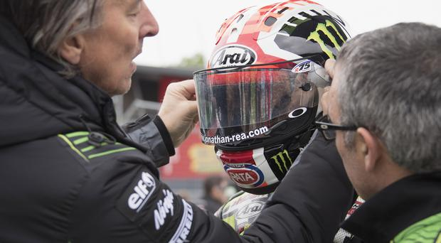 Jonathan Rea was involved in a collision on the final corner in Spain.