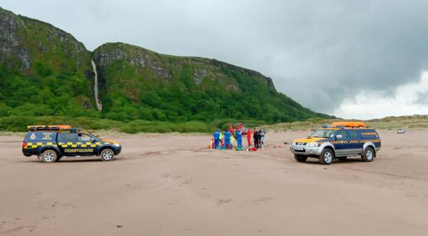 The scene of the crash on Benone Strand. Credit: Coleraine Coastguard