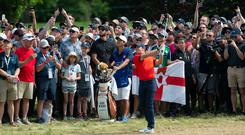 Rory McIlroy won the Canadian Open after an incredible final round. (Adrian Wyld/The Canadian Press via AP)