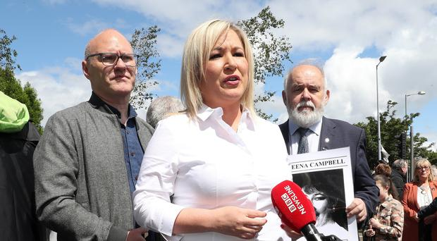 Michelle O'Neill, flanked by Paul Maskey and Francie Molloy, at the Time for Truth March at Divis Street. Pic Press Eye Declan Roughan