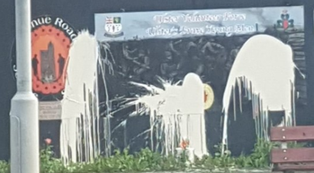 The damage to the mural on Avenue Road.